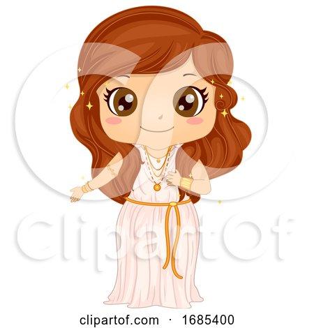Kid Girl Aphrodite Costume Illustration by BNP Design Studio