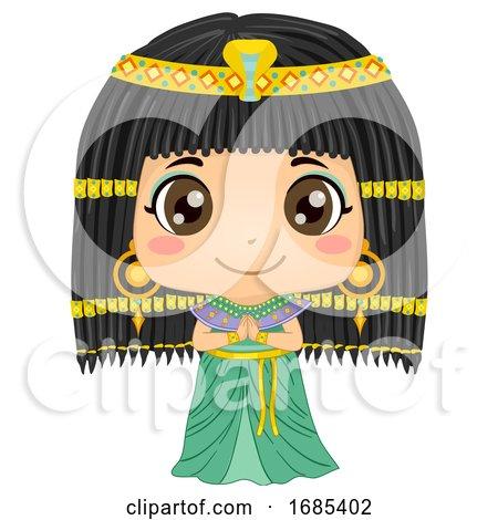 Kid Girl Cleopatra Costume Illustration by BNP Design Studio