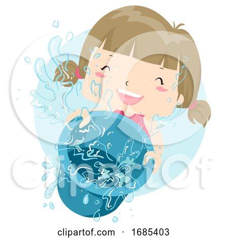 Kid Girl Play Water Pail Illustration by BNP Design Studio