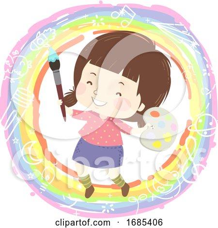 Kid Girl Paint Rainbow Illustration Posters, Art Prints