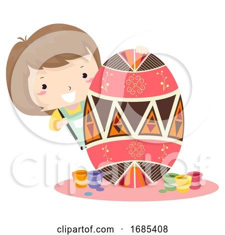 Kid Girl Paint Pysanka Egg Easter Ukraine by BNP Design Studio