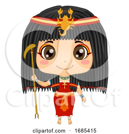Kid Girl Egyptian God Serket Costume Illustration by BNP Design Studio