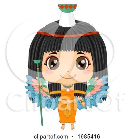 Kid Girl Egyptian Goddess Nephthys Illustration by BNP Design Studio