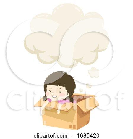 Kid Girl Imagination Box Speech Cloud Illustration by BNP Design Studio