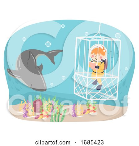 Kid Girl Oceanography Shark Cage Illustration by BNP Design Studio