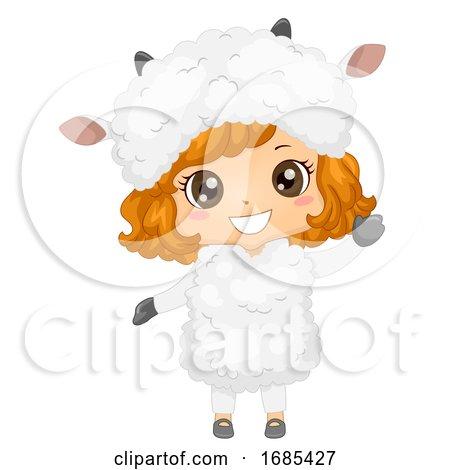 Kid Girl Animal Costume Sheep Illustration by BNP Design Studio