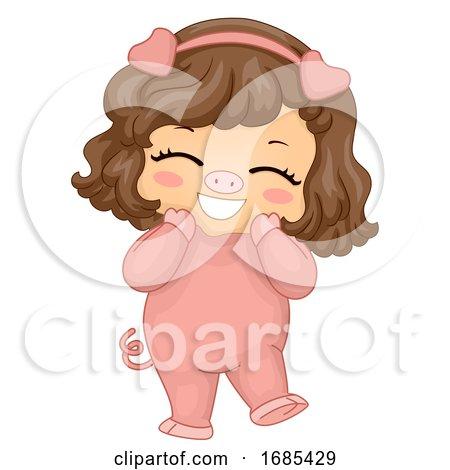 Kid Girl Animal Costume Pig Illustration by BNP Design Studio