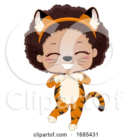 Kid Girl Safari Animal Tiger Costume Illustration by BNP Design Studio