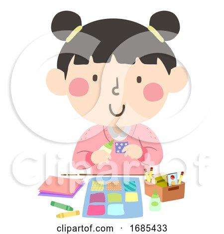 Kid Girl Paper Quilt Craft Illustration Posters, Art Prints