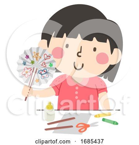 Kid Girl Paper Fan Craft Illustration by BNP Design Studio