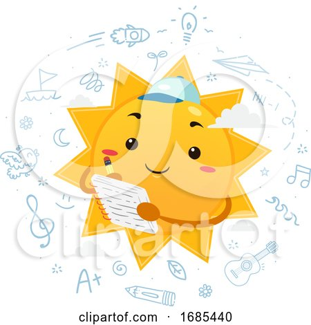 Mascot Sun Summer Journal Illustration by BNP Design Studio