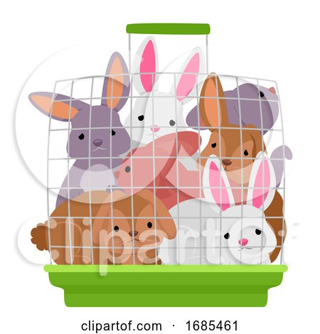 Rabbit Crowded Cage Illustration by BNP Design Studio