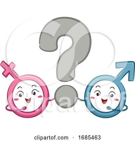 Mascot Male Female Symbol Question Mark by BNP Design Studio