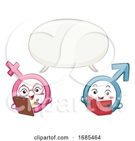 Mascot Male Female Symbol Speech Bubble by BNP Design Studio