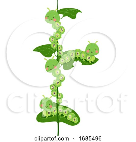 Caterpillars Mascot Alphabet Illustration by BNP Design Studio