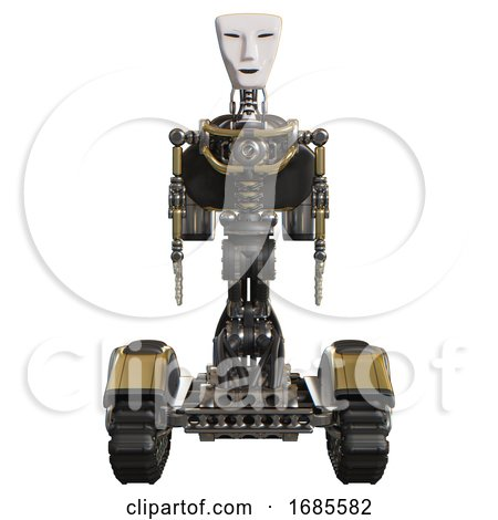 Mech Containing Humanoid Face Mask and Light Chest Exoshielding and Rocket Pack and No Chest Plating and Tank Tracks. Gold. Front View. by Leo Blanchette