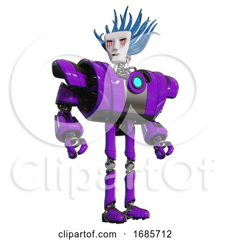 Bot Containing Humanoid Face Mask and Blood Tears and Heavy Upper Chest and Heavy Mech Chest and Blue Energy Fission Element Chest and Ultralight Foot Exosuit. Purple. Hero Pose. by Leo Blanchette