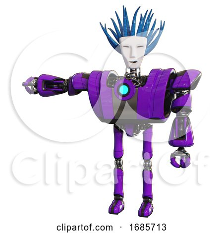 Bot Containing Humanoid Face Mask and Blood Tears and Heavy Upper Chest and Heavy Mech Chest and Blue Energy Fission Element Chest and Ultralight Foot Exosuit. Purple. by Leo Blanchette