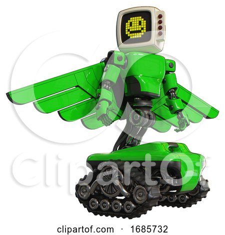 Mech Containing Old Computer Monitor and Pixel Design of Yellow Happy Face and Red Buttons and Light Chest Exoshielding and Prototype Exoplate Chest and Pilot's Wings Assembly and Tank Tracks. Green. by Leo Blanchette