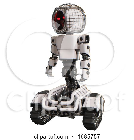 Android Containing Round Barbed Wire Round Head and Light Chest Exoshielding and Prototype Exoplate Chest and Tank Tracks. White. Standing Looking Right Restful Pose. by Leo Blanchette