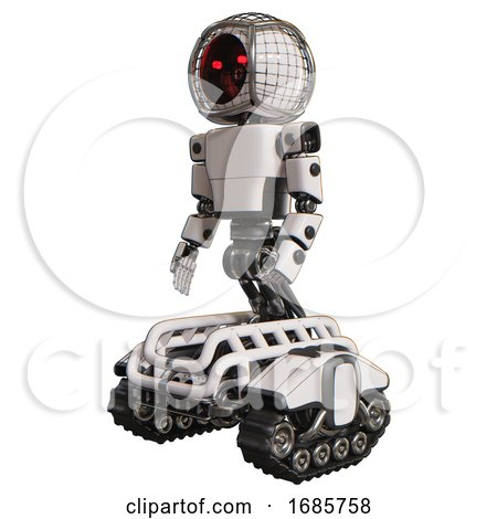 Android Containing Round Barbed Wire Round Head and Light Chest Exoshielding and Prototype Exoplate Chest and Tank Tracks. White. Facing Right View. by Leo Blanchette