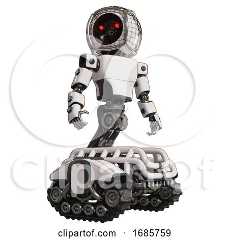 Android Containing Round Barbed Wire Round Head and Light Chest Exoshielding and Prototype Exoplate Chest and Tank Tracks. White. Hero Pose. by Leo Blanchette
