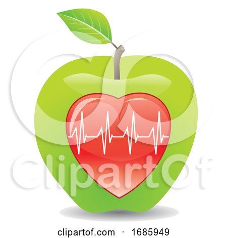 Green Apple for a Healthy Heart, Illustration Posters, Art Prints