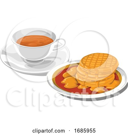 Teacup with Pancakes for Breakfast Posters, Art Prints