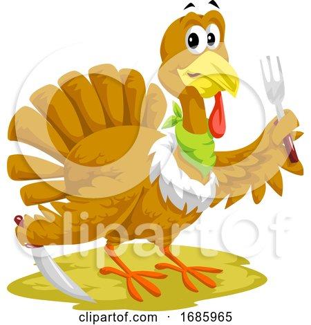 Thanksgiving Turkey Mascot Holding Silverware by Morphart Creations