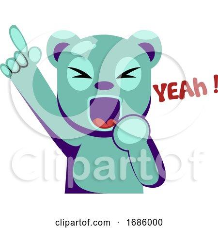 Joyful Blue Bear Holding Hand up Saying Yeah by Morphart Creations