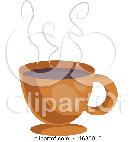 Orange Cup of Coffe Vector Illustration on White Background. Posters, Art Prints