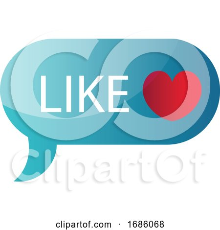 Blue like Message Bubble Vector Icon Illustration on a White Background Posters, Art Prints