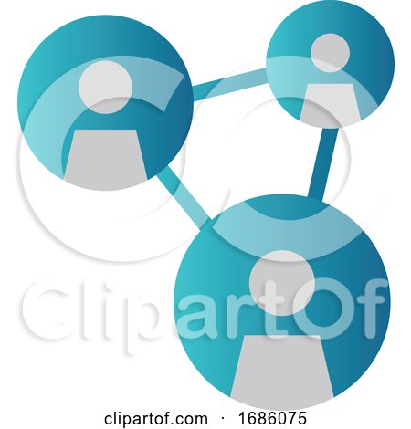 Simple Blue Vector Illustration of a Networking Icon on a White Background by Morphart Creations