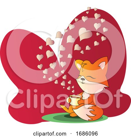 Fox Sitting and Drinking a Cup of Coffee Vector Illistration in Red Blob on White Background Posters, Art Prints