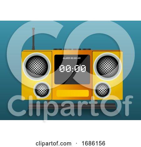 Yellow Clock Radio, Illustration by Morphart Creations