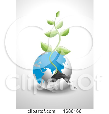 Vector of Broken Earth with New Plant Growing out of It by Morphart Creations