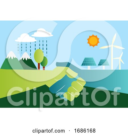 Shaking Hands for Eco Friendly Energy Resources Illustration Vector on White Background Posters, Art Prints