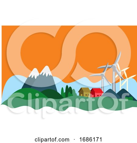 Houses in the Mountain That Have Sustainable Resources Illustration Vector on White Background by Morphart Creations