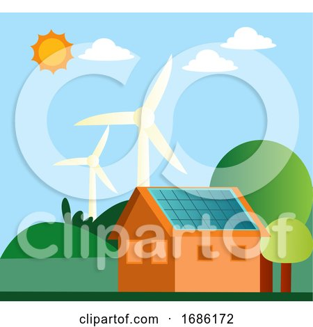 Illustration of Windmill and Solar Panels on a House Illustration Vector on White Background by Morphart Creations