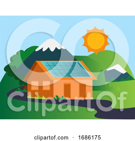 House in the Mountain with Solar Panels Illustration Vector on White Background by Morphart Creations