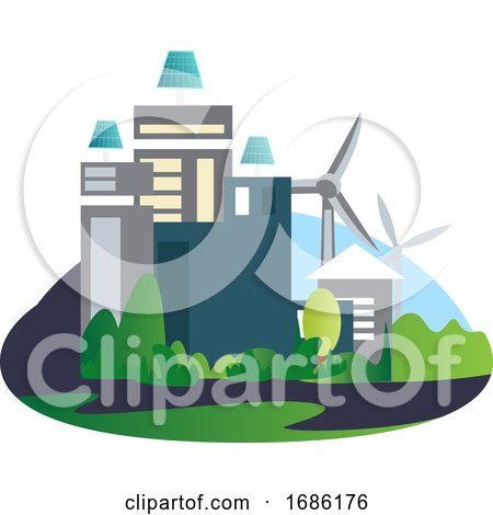 Buildings with Solar Panels and Windmills in the Background Illustration Vector on White Background by Morphart Creations