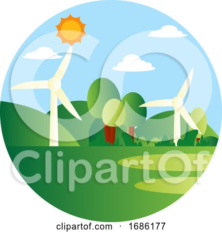 Wind As a Energy Source Illustration Vector on White Background by Morphart Creations