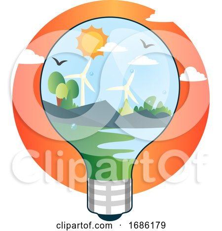 Renewable Sources of Energy in Lightbulb Illustration Vector on White Background by Morphart Creations