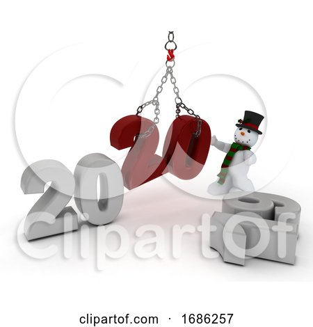 Snowman Bringing in the New Year by KJ Pargeter