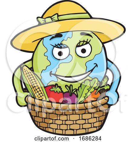 Planet Earth Farmer with Produce by Any Vector