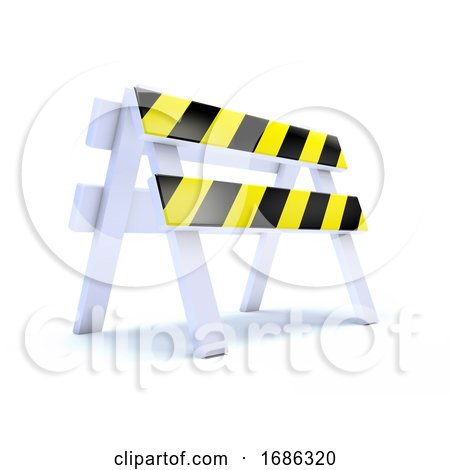 3d Yellow Striped Road Works Barrier by Steve Young