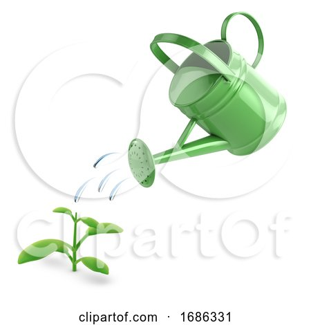 3d Green Watering Can and Seedling by Steve Young