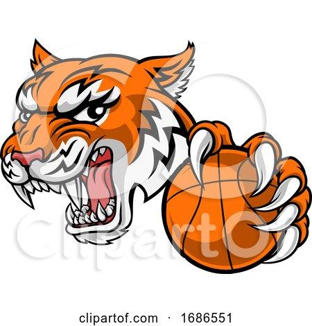 Tiger Baketball Player Animal Sports Mascot by AtStockIllustration