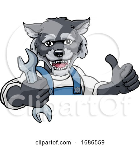 Wolf Plumber or Mechanic Holding Spanner Posters, Art Prints