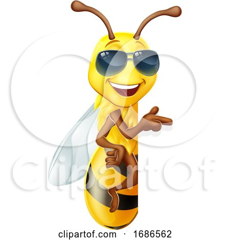 Cool Honey Bumble Bee in Sunglasses Sign Cartoon by AtStockIllustration